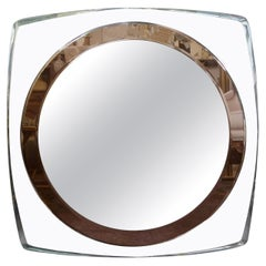 Italian Fontana Arte Inspired Square Beveled Mirror