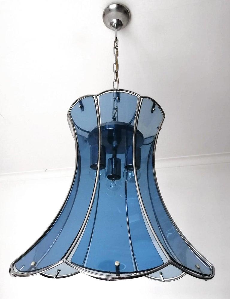 Art Deco Italian Fontana Arte Mid-Century Modern Smoked Blue Glass Chrome Chandelier 1960 For Sale