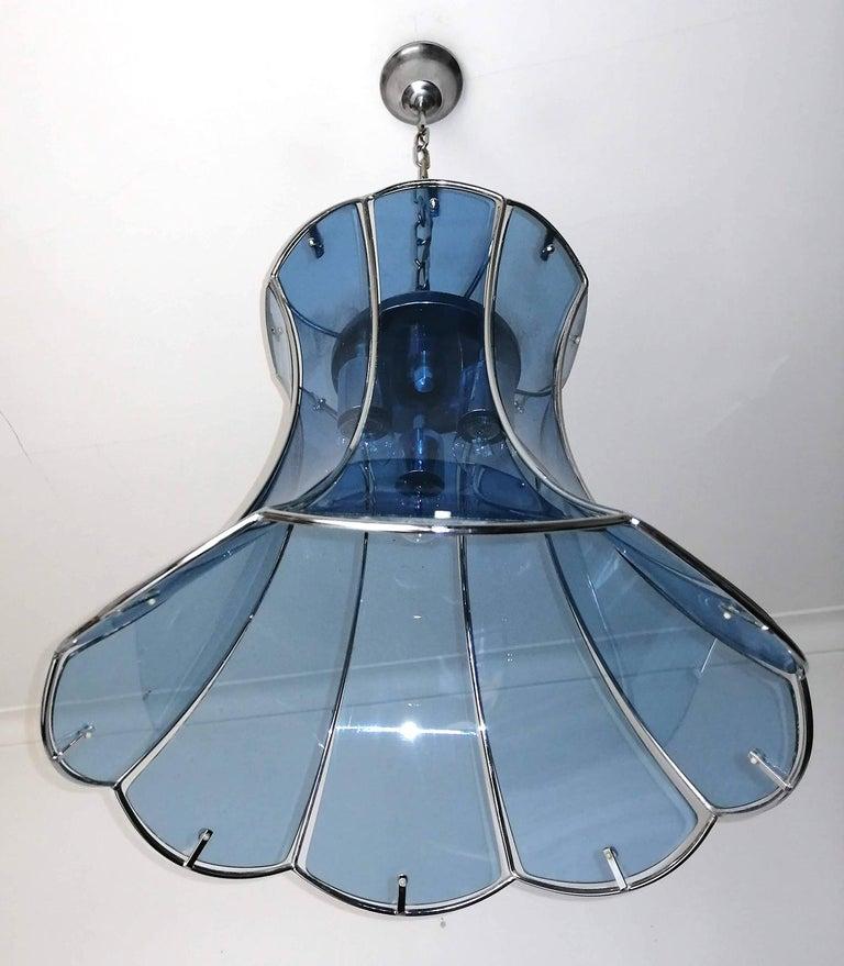 20th Century Italian Fontana Arte Mid-Century Modern Smoked Blue Glass Chrome Chandelier 1960 For Sale