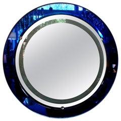 Italian Fontana Arte Style Cobalt Blue Backlit Mirror