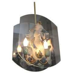 Italian Fontana Arte Style Etched Glass Mermaid Pendant Light