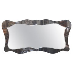 Italian Fontana Arte Style Horizontal Beveled Mirror with Bronze Mounts