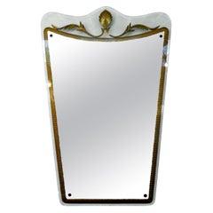 Italian Fontana Arte Style Midcentury Gilt Decorated Mirror