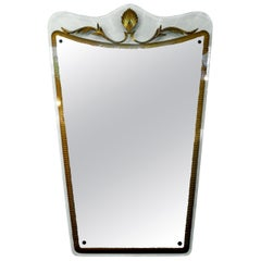 Italian Fontana Arte Style Midcentury Gilt Decorated Mirror