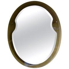 Italian Fontana Arte Style Oval Beveled Mirror