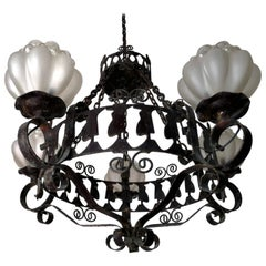 Italian Forged Iron Hanging Chandelier w Five Light Murano Bubble Glass Globes