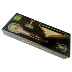 Italian Fornasetti Musical Instrument Motif Stash Box, circa 1950