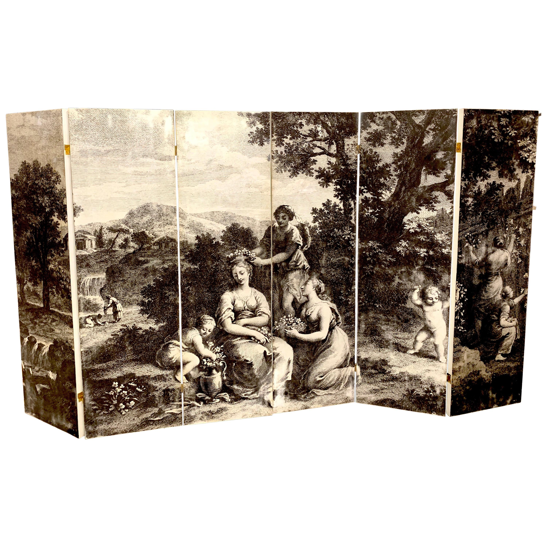 Italian Six-Panel Neoclassical Black and White Screen