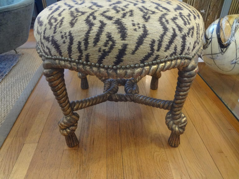 Italian Fournier Style Gilt Wood Knotted Rope and Tassel Ottoman 4