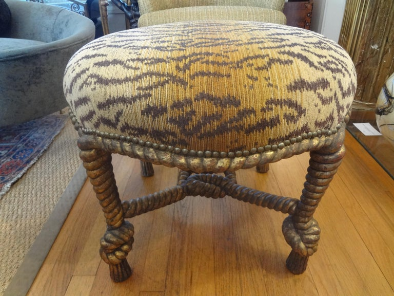 Louis XVI Italian Fournier Style Gilt Wood Knotted Rope and Tassel Ottoman