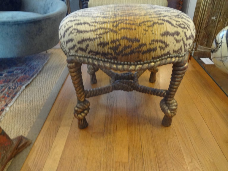 Italian Fournier Style Gilt Wood Knotted Rope and Tassel Ottoman 2