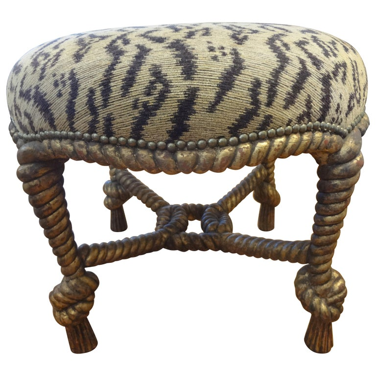 Italian Fournier Style Gilt Wood Knotted Rope and Tassel Ottoman