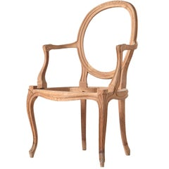 Italian Frame Hand-Carved Open Armchair