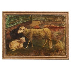 "Italian Framed Oil on Panel of a Sheep and Her Lamp, Signed, ""EV, 1830"""