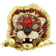 Italian Frascarolo Diamond Enamel Lion Brooch