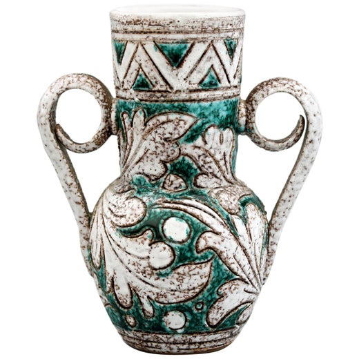 Fratelli Fanciullacci Jug  Handled Vase with Stylized Town Scene Vintage Italian Art Pottery Alla Moda