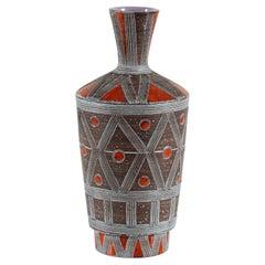 Italian Fratelli Fanciullacci Ceramic Vase with Geometric Design Mid-Century