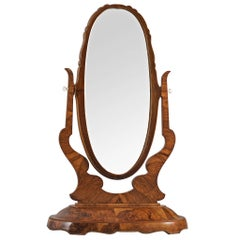 Italian Free-Standing Art Deco Mirror in Mahogany