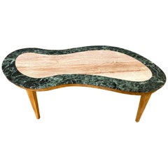 Italian Freeform Marble and Elm Coffee Table, 1950s