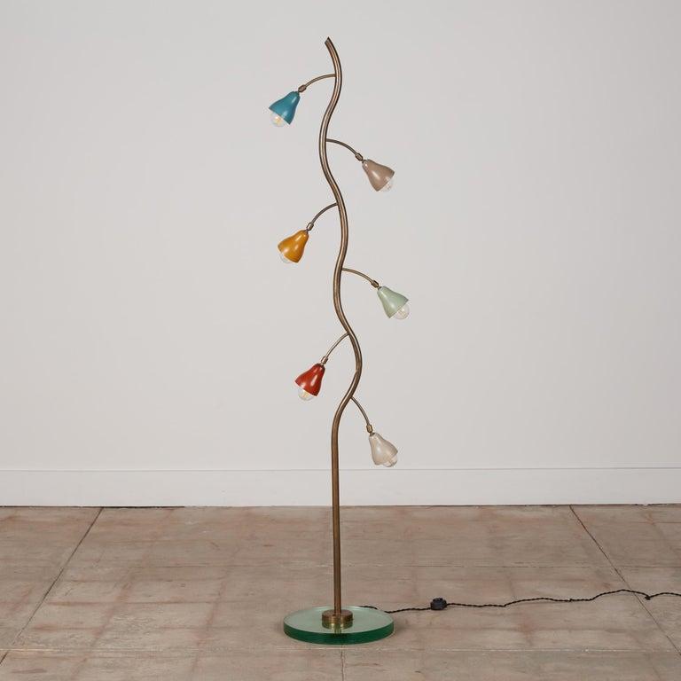 Mid-Century Modern Italian Freeform Tulip Shade Floor Lamp For Sale
