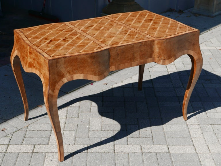 Italian Fruitwood and Burl Marquetry Parquet Desk, circa 1950 For Sale 2