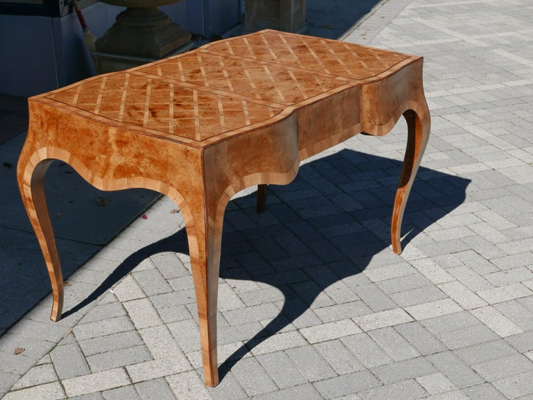 Italian Fruitwood and Burl Marquetry Parquet Desk, circa 1950 For Sale 3