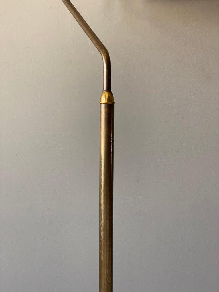 Mid-20th Century Italian Functionalist Designer, Adjustable Floor Lamp, Brass, 1940s, Italy For Sale