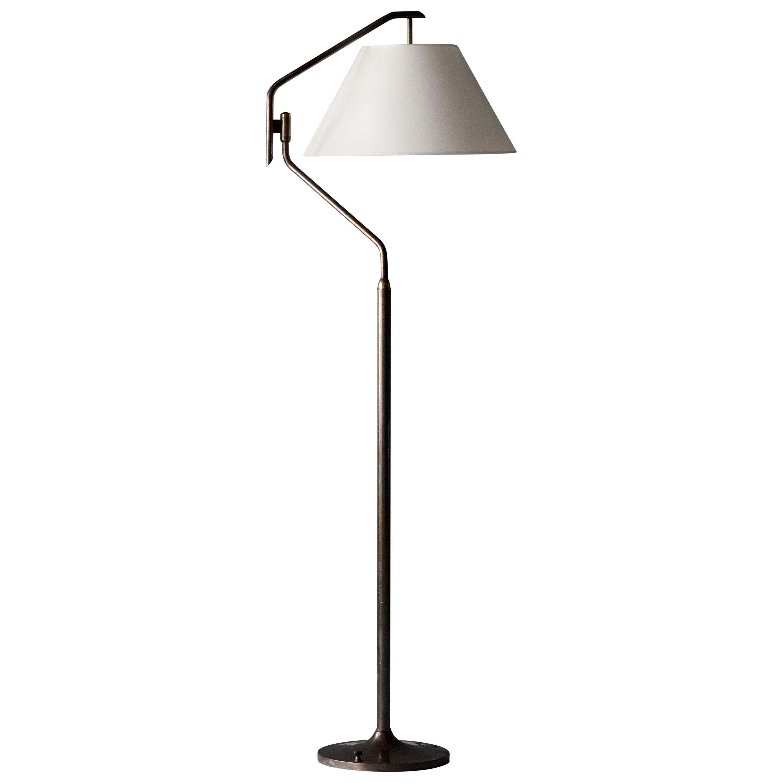 Italian Functionalist Designer, Adjustable Floor Lamp, Brass, 1940s, Italy