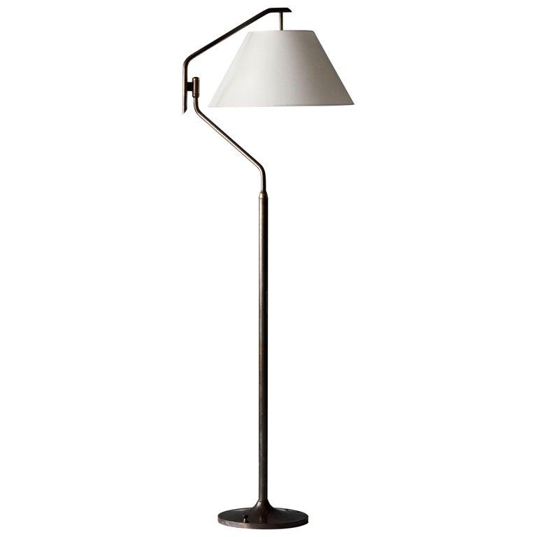 Italian Functionalist Designer, Adjustable Floor Lamp, Brass, 1940s, Italy For Sale