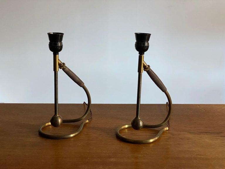Italian Functionalist Designer, Organic Table Lamps, Brass, Rubber, 1940s, Italy 1