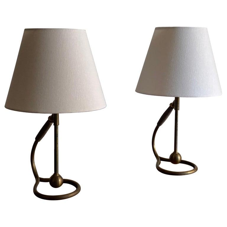 Italian Functionalist Designer, Organic Table Lamps, Brass, Rubber, 1940s, Italy