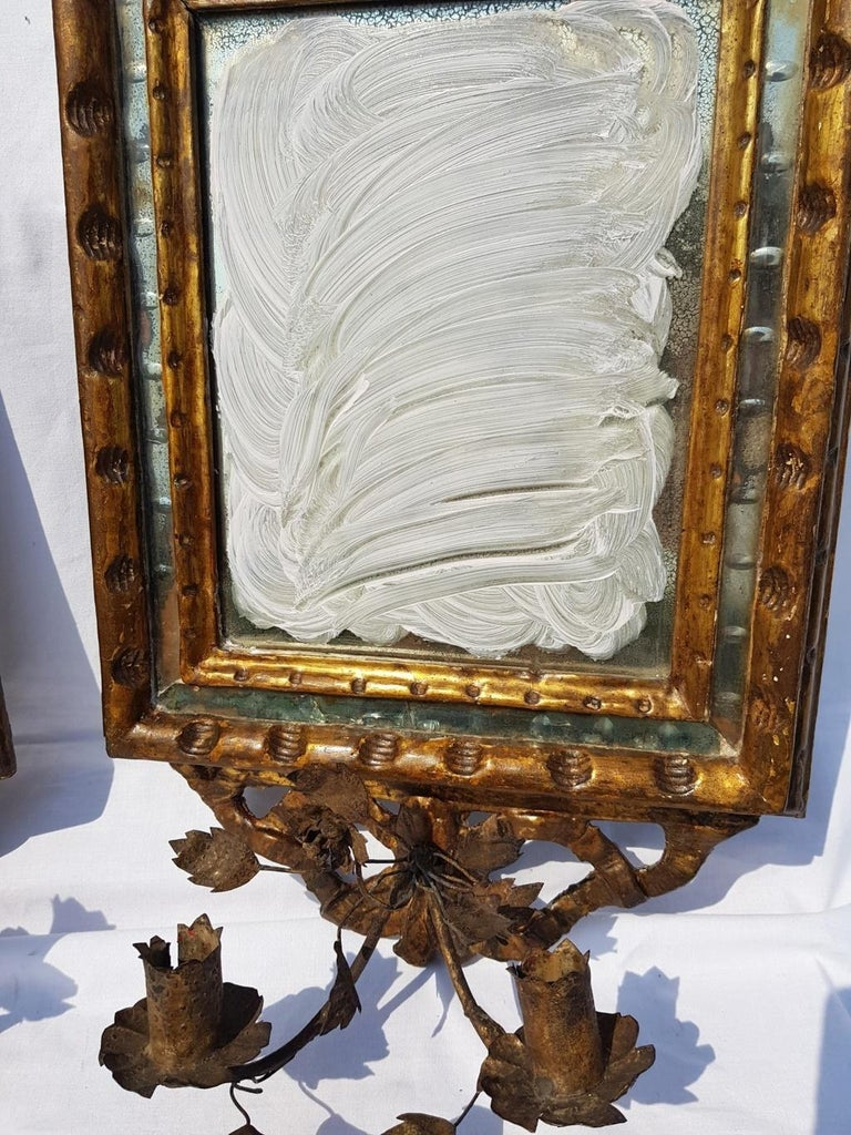 Italian Four Mirrors Carved Giltwood, Italy, 18th Century, Appliques Rococo For Sale 5