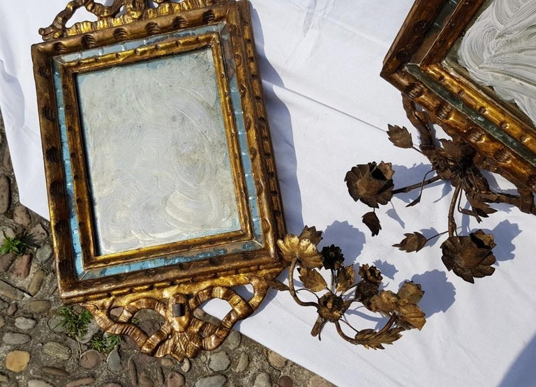 Italian Four Mirrors Carved Giltwood, Italy, 18th Century, Appliques Rococo For Sale 7