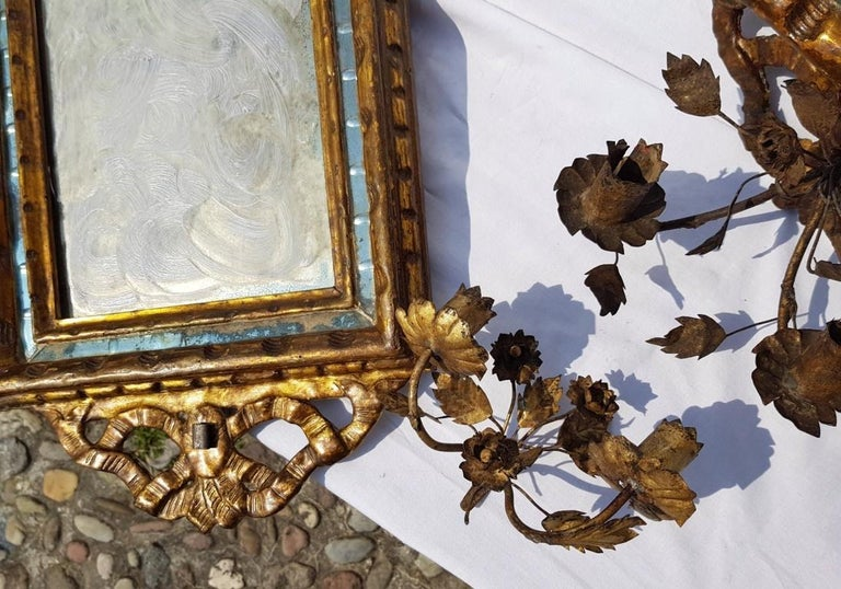 Italian Four Mirrors Carved Giltwood, Italy, 18th Century, Appliques Rococo For Sale 8
