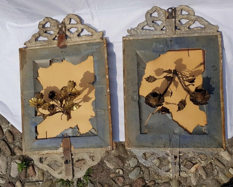 Italian Four Mirrors Carved Giltwood, Italy, 18th Century, Appliques Rococo For Sale 9