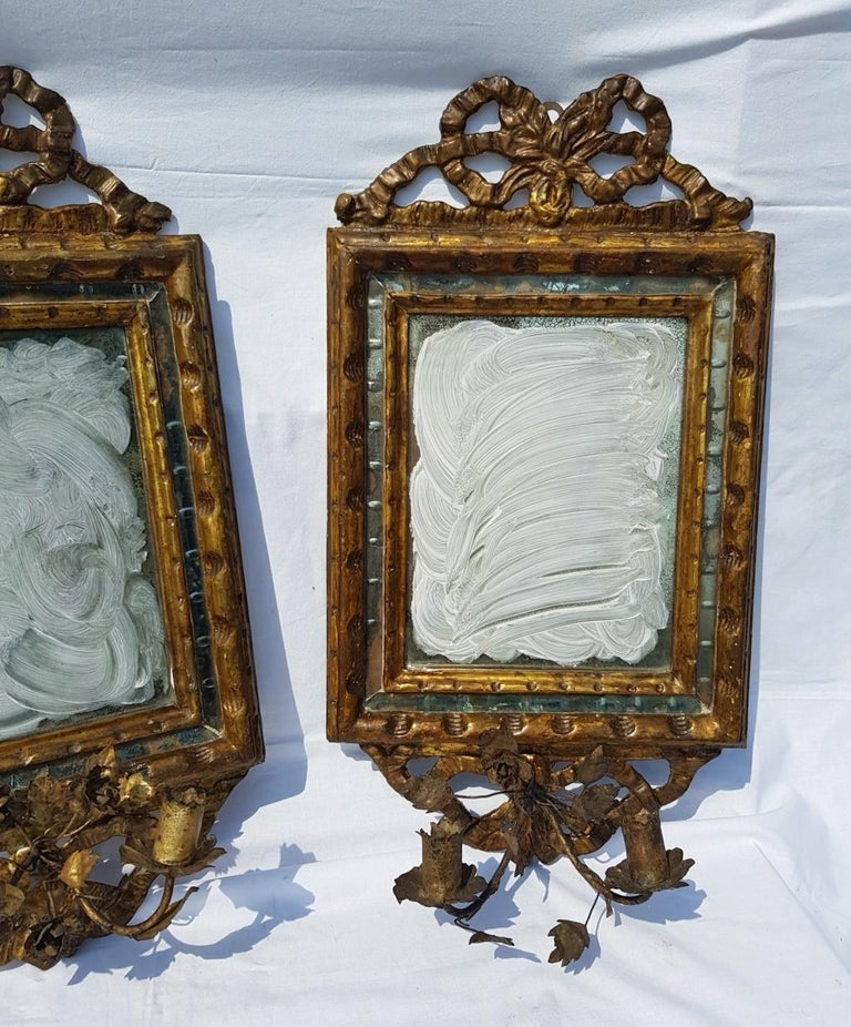 Louis XVI Italian Four Mirrors Carved Giltwood, Italy, 18th Century, Appliques Rococo For Sale