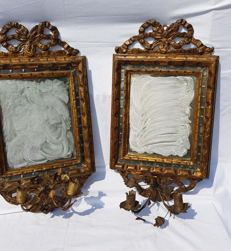 Italian Four Mirrors Carved Giltwood, Italy, 18th Century, Appliques Rococo In Good Condition For Sale In Varmo, IT