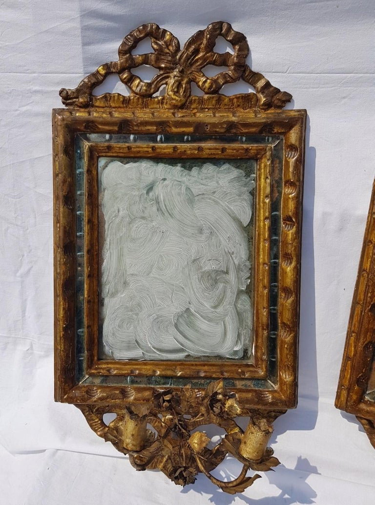 Wood Italian Four Mirrors Carved Giltwood, Italy, 18th Century, Appliques Rococo For Sale