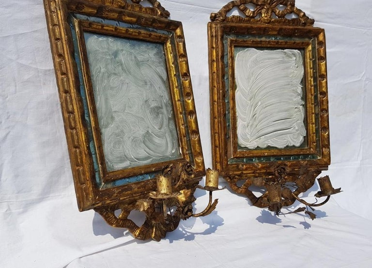 Italian Four Mirrors Carved Giltwood, Italy, 18th Century, Appliques Rococo For Sale 1