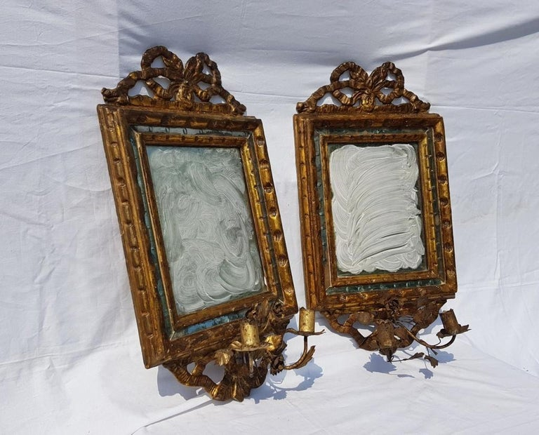Italian Four Mirrors Carved Giltwood, Italy, 18th Century, Appliques Rococo For Sale 2