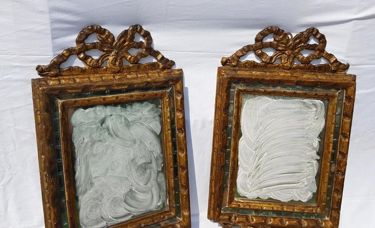 Italian Four Mirrors Carved Giltwood, Italy, 18th Century, Appliques Rococo For Sale 3