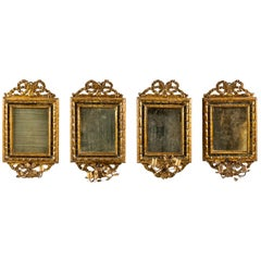Italian Four Mirrors Carved Giltwood, Italy, 18th Century, Appliques Rococo