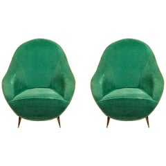 Italian Furniture, Pair of Bergere Armchairs, Italy, circa 1960