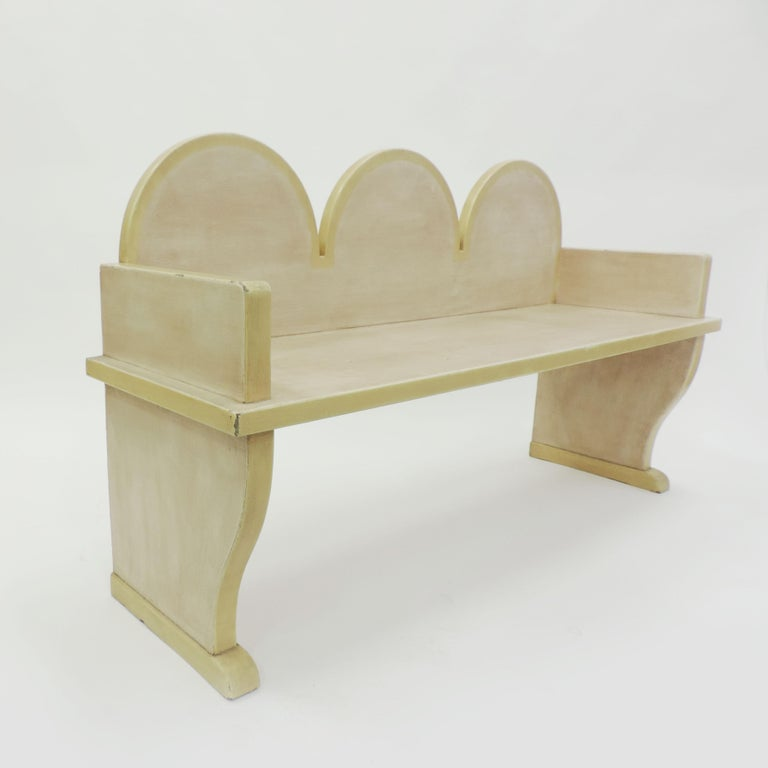 Italian 'Futurist' bench, 1920s Lightly painted in off-white and yellow borders.