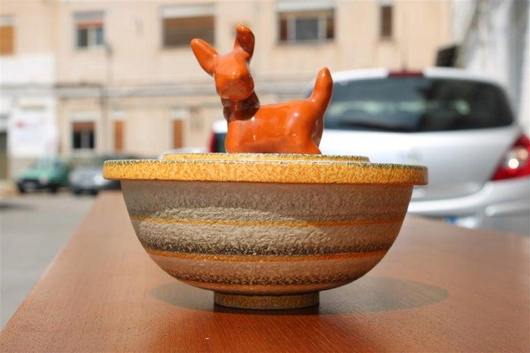 Art Deco Italian Futurist Tobacco Ceramic Box 1930 Matt Enamel Cima Perugia with Dog For Sale