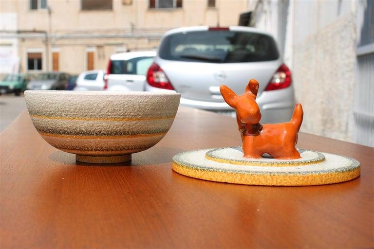 Italian Futurist Tobacco Ceramic Box 1930 Matt Enamel Cima Perugia with Dog In Excellent Condition For Sale In Palermo, Sicily