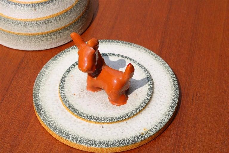 Italian Futurist Tobacco Ceramic Box 1930 Matt Enamel Cima Perugia with Dog For Sale 1