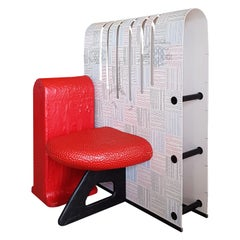 Italian Gaetano Pesce Armchair with White Printed Plastic Back and Red Seat