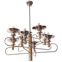 Italian Gaetano Sciolari 8 Arm and Torchère Chrome Chandelier with Brass Accents