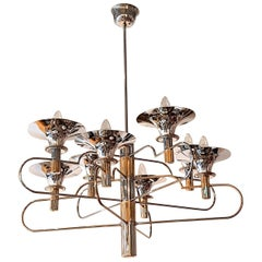 Italian Gaetano Sciolari 8 Arm and Torchère Chrome Chandelier with Brass Accents
